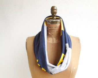 Michigan Wolverines T Shirt Scarf Womens Tee Scarf Womens T-Shirt Infinity Scarf Cotton Scarf Handmade Scarf Navy Blue Gold Gray ohzie