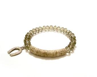 Horseshoe Charm Bracelet Faceted Smoky Glass Beads Linen Tube Bar
