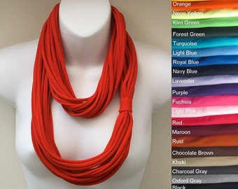 Multi Strand Jersey Infinity Loop Circle Scarf Necklace All Colors 549