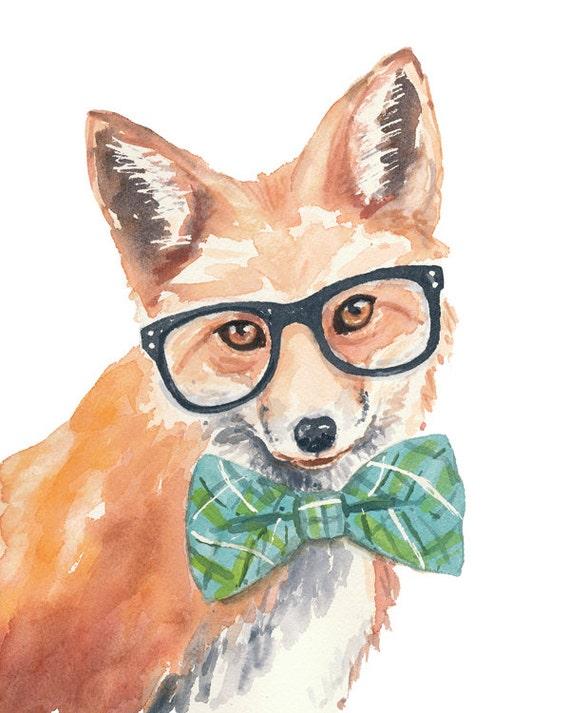Red Fox PRINT Watercolor Painting PRINT Nerd by WaterInMyPaint