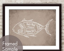 Tuna Fish Butcher print - Art Print (featured in Vintage Parchment) (Buy 3 and get One Free) Wall Art Kitchen Chefs Gift Ideas
