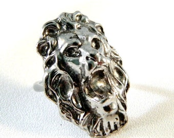 "Vintage Mens Silver Roaring Lion Head Ring - Art Nouveau - 1"" High - Adjustable"