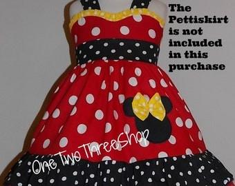 Minnie Mouse Dress SWEETHEART neckline minnie vacation, party birthday, costume, dress up princess handmade custom