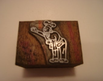 Letterpress Printers Block - Chef Figure