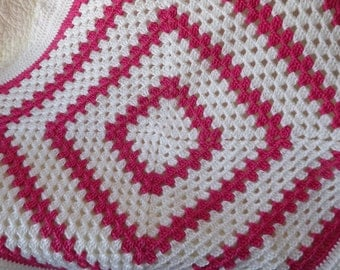 Crocheted Classic Style Granny Square Baby Blanket in Pink and White