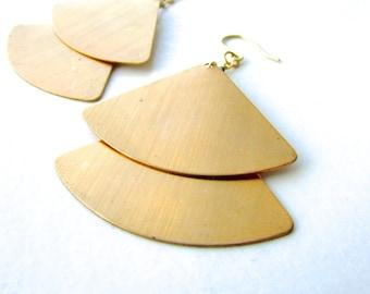 Brass geometric double triangle fan earrings