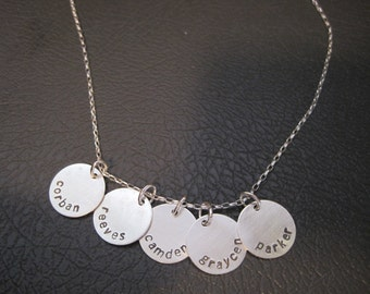 sterling silver stamped necklace, children's names, dates, family,kids,five round disks