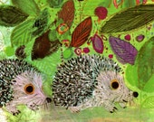 Nursery print of BABY HEDGEHOGS among colorful flowers, Brian Wildsmith illustration