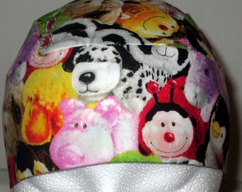 Pillow Pets Skull Cap, Chemo Cap, Handmade, Hats, Alopecia, Head Wrap, Hair loss, bald, Helmet Liner, Bandanna, Surgical Cap, Animals, Pets