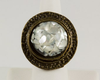 Large Round Dinner Ring, Antique Brass, Black Base with White Shell Chips Encased in Clear Resin, Dramatic