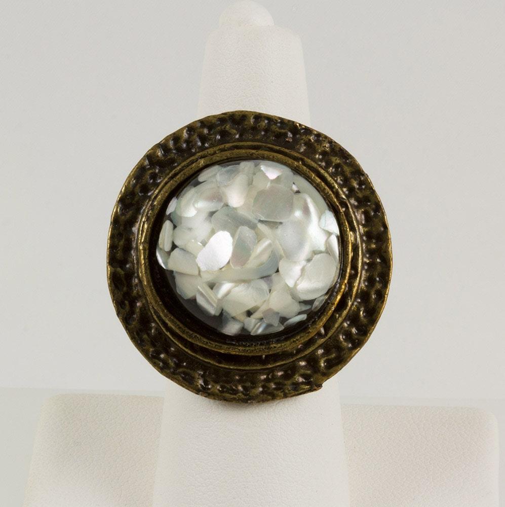 large dinner ring antique brass black base with white