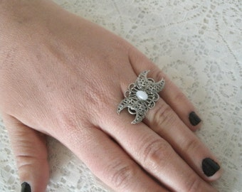 Triple Moon Goddess Ring, wiccan jewelry pagan jewelry wicca jewelry goddess jewelry witch witchcraft  metaphysical magic wiccan ring
