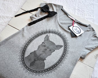 Womens tshirt dress in organic cotton - chihuahua dog screen print - illustration