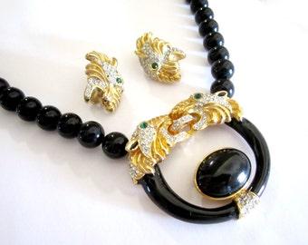Tiger Rhinestone Jewelry Set Designer Tiger Head Necklace Earrings