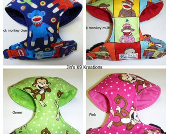 Fun Monkey Sock Monkey Comfort Soft Dog Harness - Made to order -