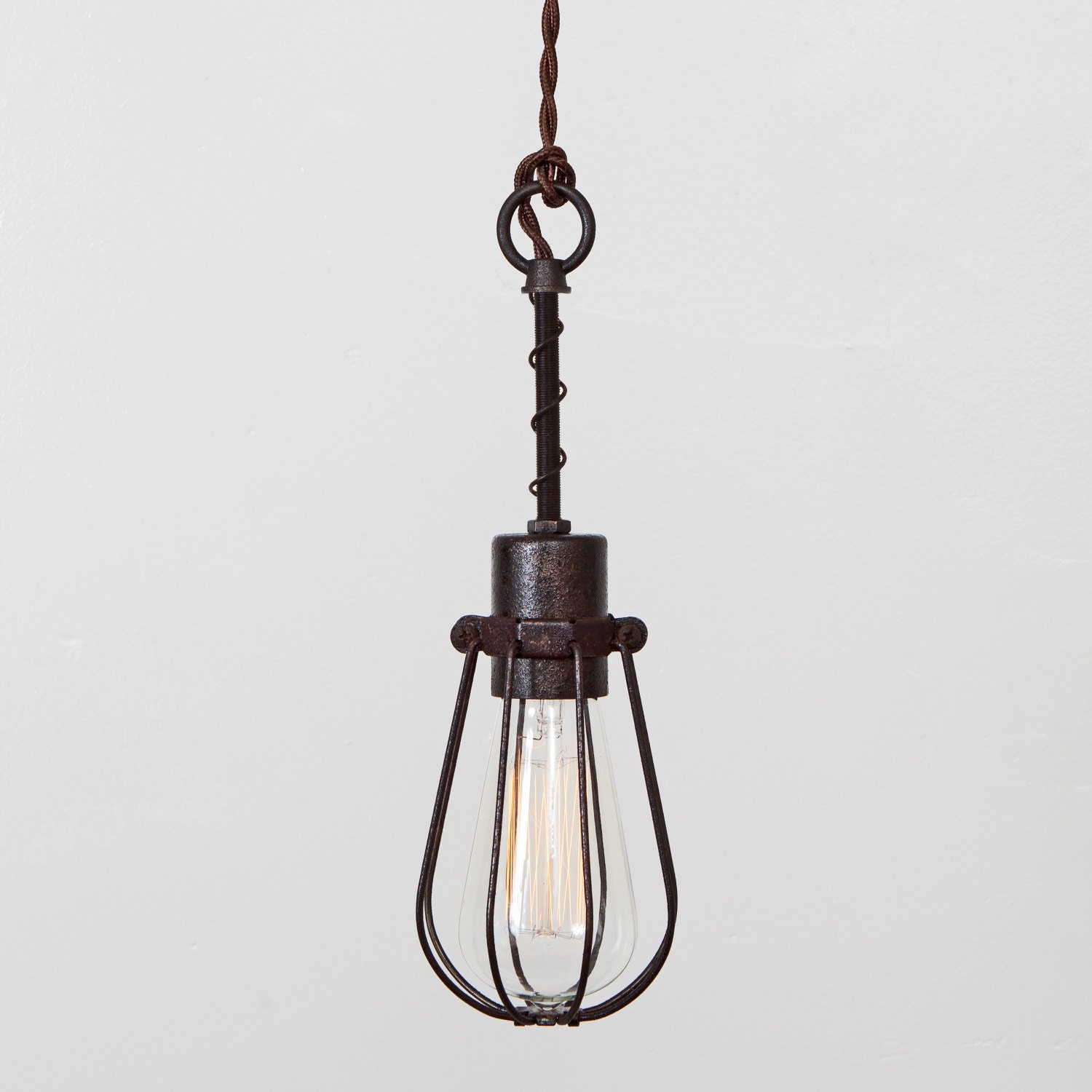 hanging ceiling lights that plug in industrial spring pendant light. Black Bedroom Furniture Sets. Home Design Ideas