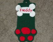 Crochet Dog Stocking Personalized Green and Red