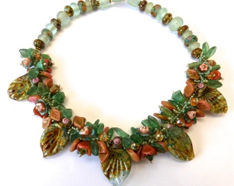 Original Handmade Necklace in Translucent Sage Green and Peach/Pinks along with SRA Sarah Kloppings Handmade Leaf Beads