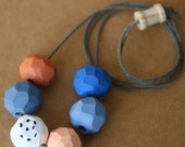 Clay Bead Necklace in Rust, Denim Blue, White with Black Polka Dots, Salmon, Denim Blue, Blue