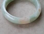 Grade A Jadeite Jade Semi Translucent Round Light Green/ Orange 57mm Bangle w/ Certificate