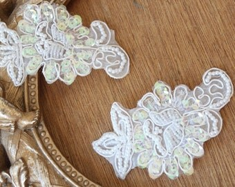 Cute    embroidered and beaded  flower applique with   sequence    2 pieces listing