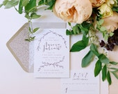 Floral Vine Calligraphy Wedding Invitation Suite
