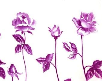 Art on Silk Magenta Rose Art print