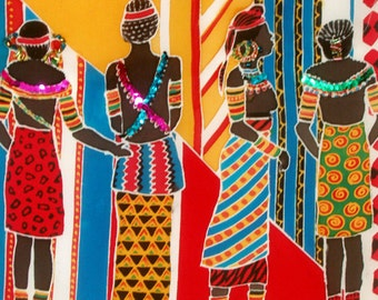 Art on Silk African Ladies Art Print