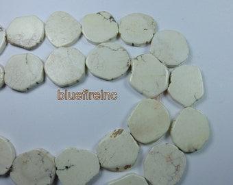 Magnesite 25mm- 30mm slab freeform flat pebble pendant beads gemstone - white - full strand