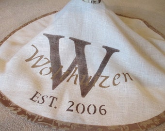 Personalized with Brown on white burlap tree skirt