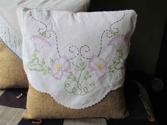 decorative pillow from upcycled burlap and vintage dresser scarf