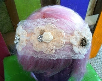 Boho Cream Lace Wedding Hair Piece