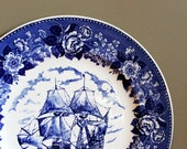 Blue Print Plate - Columbus Mayflower Floral - Home Kitchen Decor  - Old English Staffordshire Ware, Made in England
