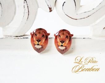 Lion Animal Face Selfie app earrings