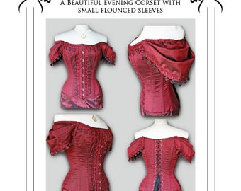 "Steampunk Gothic ""Ruby"" Corset Paper Sewing Pattern off shoulder sleeved corset medium"