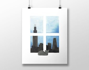Cat Art - Cat in Chicago - from cats around the world series - Chicago Skyline - cat painting, chicago art