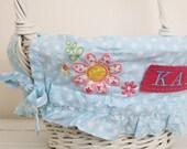 Small Easter Basket Liner -- Blue Dot Floral -- Free Monogram --