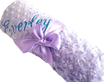 Lavender Swirl Minky Baby Blanket with Lavender Dot Minky Back Personalized Baby Blanket Standard Size