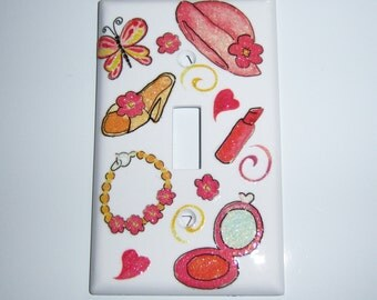 Girly girl pink single light switch cover