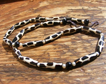 African Batik Bead Necklace with Ebony and Pearls. White. Black. Handmade Beads.