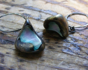 Handmade Porcelain with Bronze Finish Earrings.