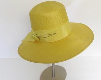 Yellow Church Wedding Hat | Derby Wide Brim Straw Hat | 80s Vintage Womens Chapeau
