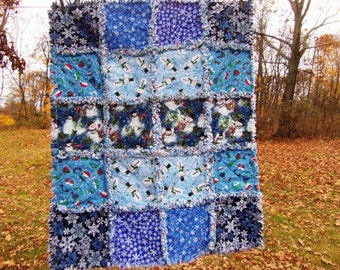 Rag Quilt Christmas baby boy blanket snowman and snowflakes