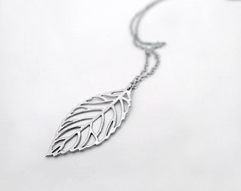leaf necklace, silver leaf necklace, Long filigree leaf charm pendant necklace, gift for her, simple delicate everyday jewelry, by balance9