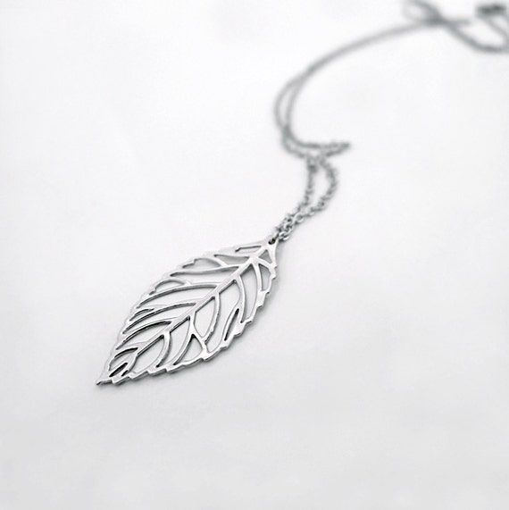Long leaf necklace, silver leaf necklace, filigree delicate jewelry, leaf charm pendant, simple everyday jewelry, holidays gift, by balance9