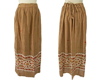 Vintage 1970s Indian Cotton Skirt Embroidered with Mirrors