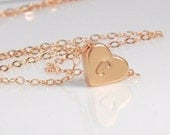 Monogram necklace, Initial jewelry, 14K rose gold filld chain,stamped heart necklace in rose gold, personalized jewelry, minimalist necklace
