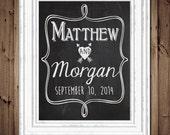 Couples Names Custom Love Print - Typography - Custom chalkboard style Wedding Decoration - Wedding Gift Print - Digital File