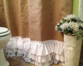 Burlap Shower Curtain with Rows of Tattered Ruffles