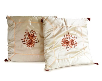 Mid Century Embroidered Satin Throw Pillows - Matching Set of Two
